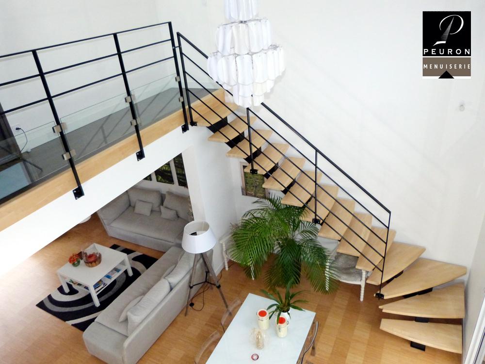 fabricant d'escaliers bois métal sur vannes Pontivy baud escalier, garde-corps, limon, central