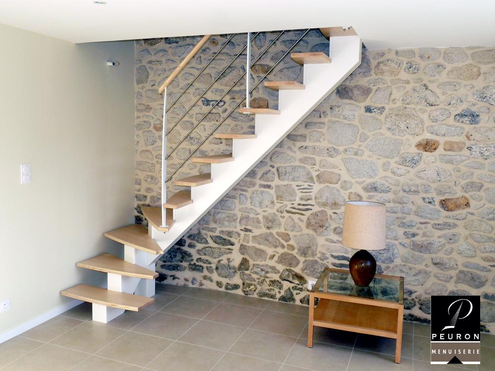 fabricant d'escaliers bois métal sur vannes Pontivy baud escalier, limon, central, bois, laqué, blanc