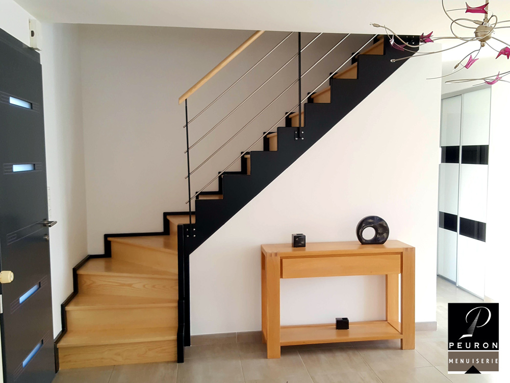 escalier, faux, limon, zig, zag, marches, contre, marches, contremarche