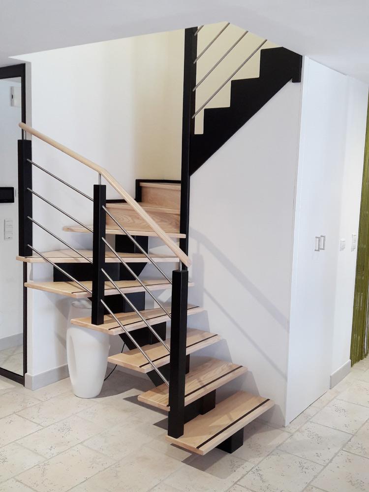 fabricant d'escaliers bois métal sur vannes Pontivy baud escalier, limon, central, zig, main, courante