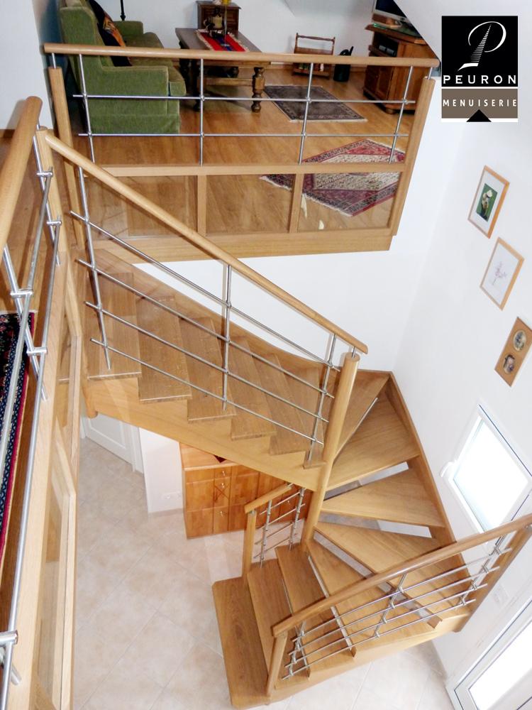 abrication et pose d'un escalier en chêne, gamme