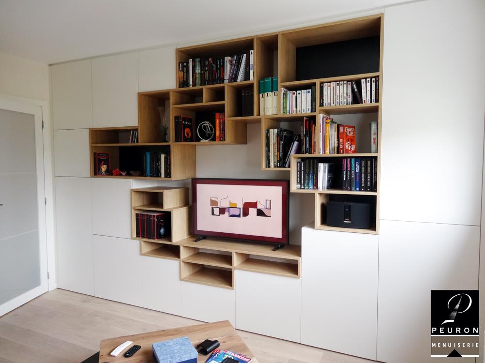 Meuble TV bibliothèque pour salon